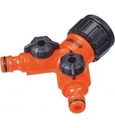 "Conector robinet 1/2"" - 3/4"" cu 2 iesiri, Stocker 25092"