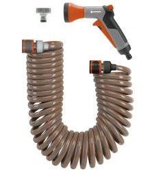 Set furtun spiralat (10 m) cu conectori si pistol de stropit, Gardena 4647